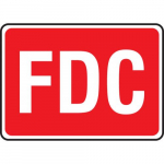 "10"" x 14"" Aluminum White on Red Sign: ""FDC"""