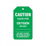 "Caution Safety Tag ""Valve for Oxygen"""