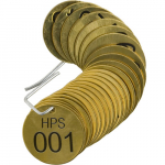"1-1/2"" Stamped Brass Valve Tag w/ Legend: HPS 001"