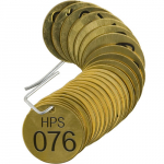 "1-1/2"" Stamped Brass Valve Tag w/ Legend: HPS 076"