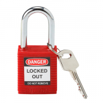 "Red Safety Padlock w/ 1.5"" Shackle"