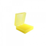 100-Well Yellow Hinged Storage Box