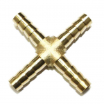 "1/4"" Brass Hose Barb Cross Fitting"