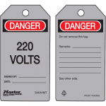 """Danger 220 Volts"" - Metal Detectable Safety Tag"