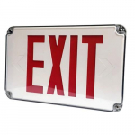 Red/White LED Wet Location Exit Sign, Ni-Cad Battery