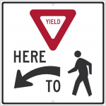 """Yield Here"" Arrow Symbol Sign"