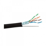 Cable Cat5e Aerial with Messenger, Black, 1000 ft Spool
