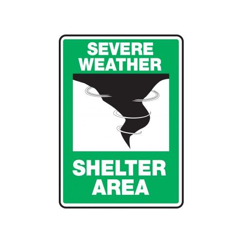 10 x 7 Inches MFEX541XV Shelter Area Safety Sign AccuformSevere Weather Adhesive Dura-Vinyl