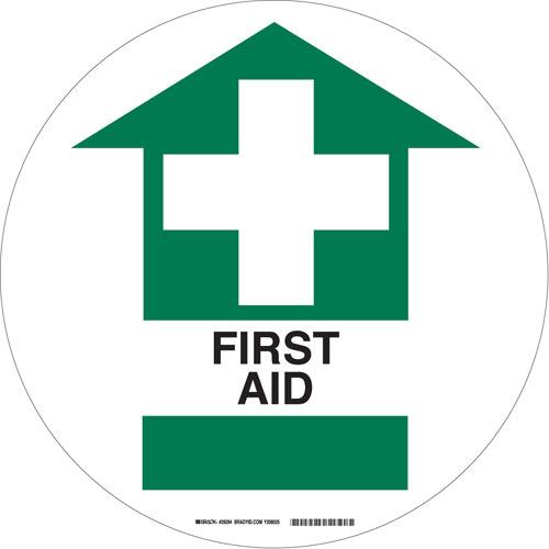 Buy Brady 29294 17 Dia Vinyl Anti Skid Floor Sign W Legend First Aid Mega Depot